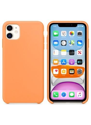 Microsonic Apple iPhone 11 (6.1'') Kılıf Liquid Lansman Silikon Papaya Renkli